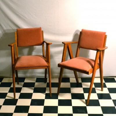 Paire de fauteuils compas
