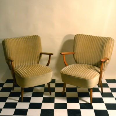 Paire de fauteuils cocktail beige doré
