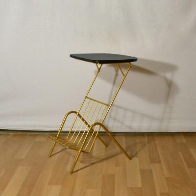 Table d'appoint noire et dorée