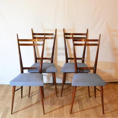 Série de 4 chaises scandinaves bleues