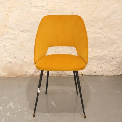 Chaise cocktail velours jaune