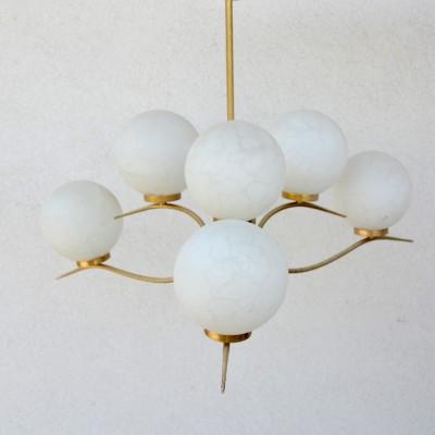 Lustre à six globes en verre des années 40