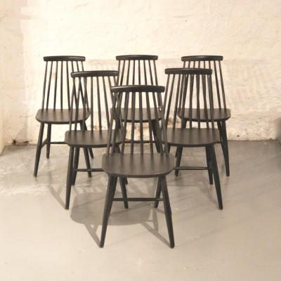 Série de 6 chaises scandinaves noires