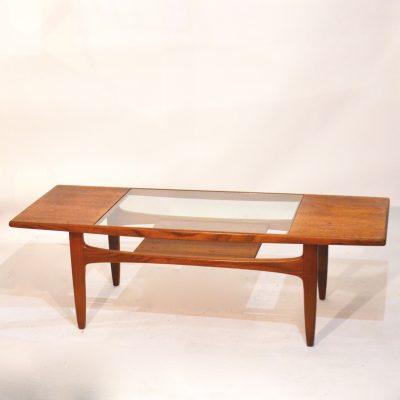Table basse scandinave verre et teck