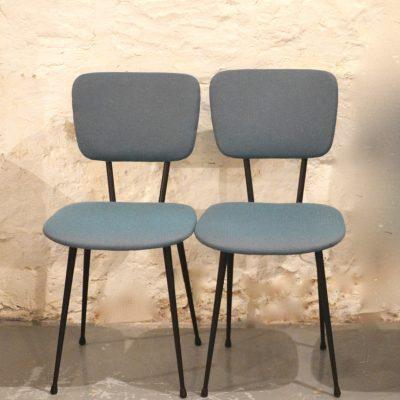 Paire de chaises années 60 motif chevron