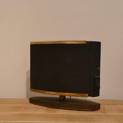 Petite lampe à poser années 50 noire et dorée