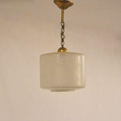 Suspension en verre granité et chaîne dorée