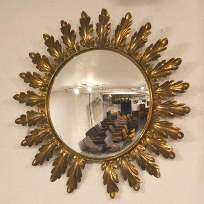 Miroir sorcière bombé à feuilles