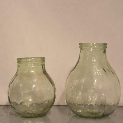 Duo de bonbonnes en verre teinté