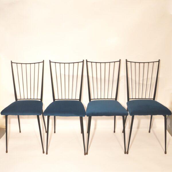 Série de 4 chaises Colette Gueden retapissées