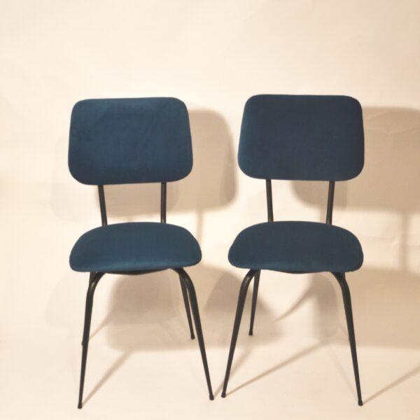 Paires de chaises velours bleu modèle 2