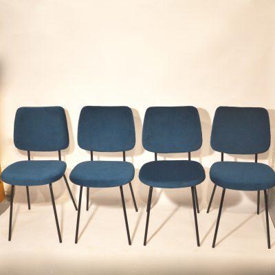 Série de 4 chaises velours bleu