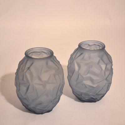 Duo de vases Art déco bleus