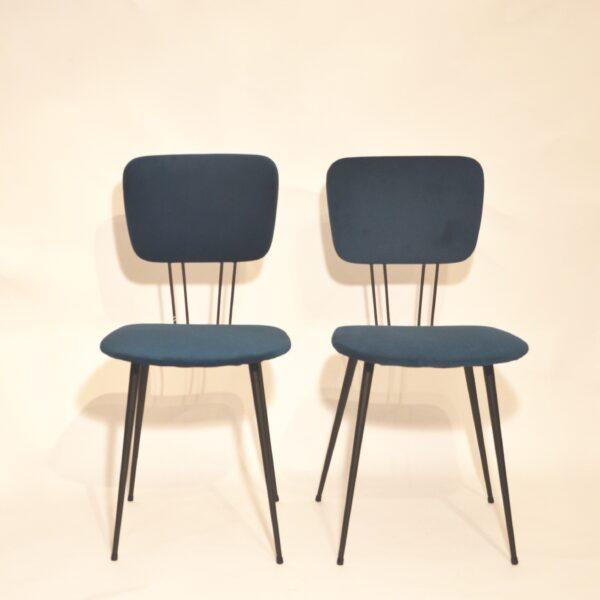 Paires de chaises velours bleu modèle 1