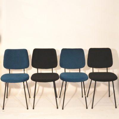 Série de 4 chaises velours noir et bleu