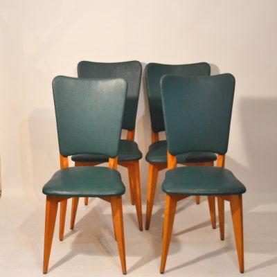 Série de 4 chaises skaï vert