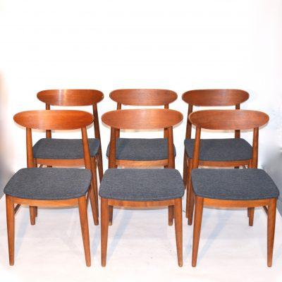 Série de 6 chaises scandinaves retapissées