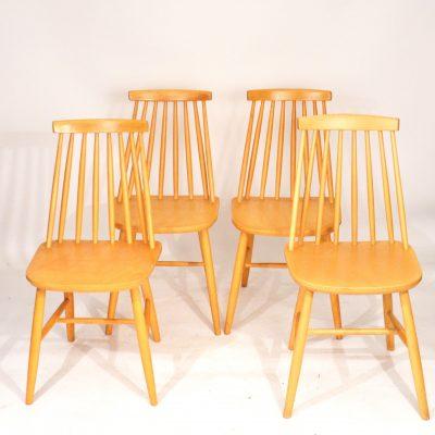 Série de 4 chaises scandinaves bois blond