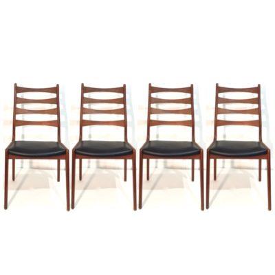 Série de 4 chaises danoises skai noir