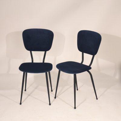 Paires de chaises années 60 velours bleu