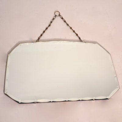 Miroir biseauté années 50 avec chaînette