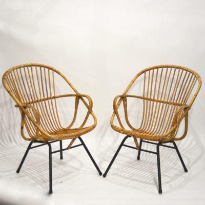 Paire de fauteuils rotins