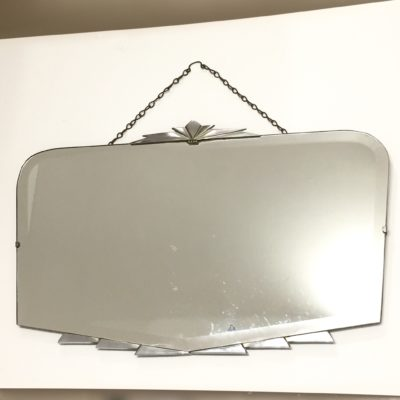 Miroir biseauté Art Déco à fronton