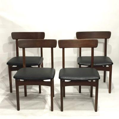 Série de 4 chaises scandinaves skaï