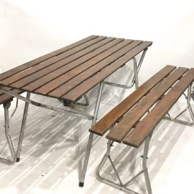 Table et bancs de camping années 60