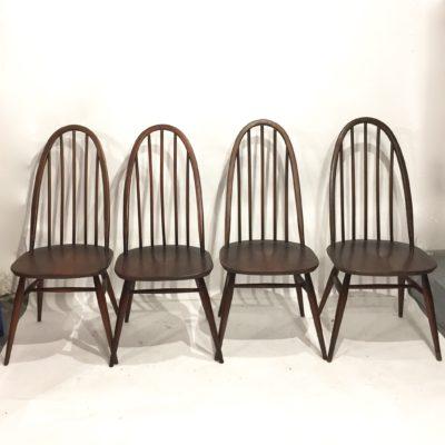 Série de 4 Chaises Ercol Quaker foncées