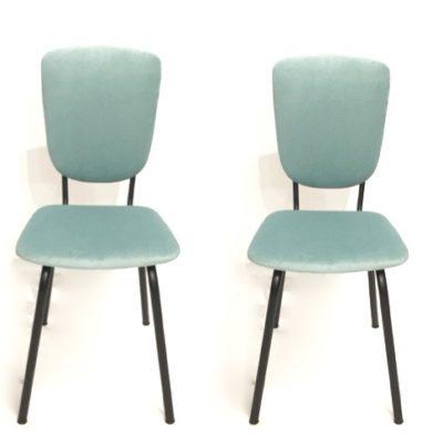 Paire de chaises années 60 vert d'eau