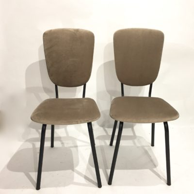 Chaises années 60 velours taupe