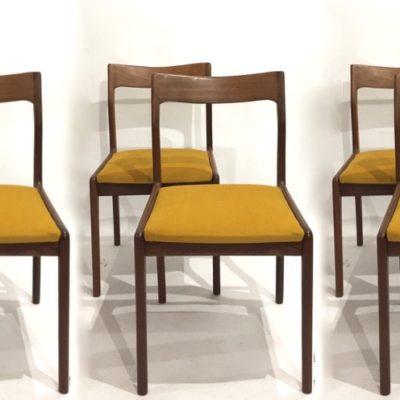 Série de 6 chaises teck et moutarde