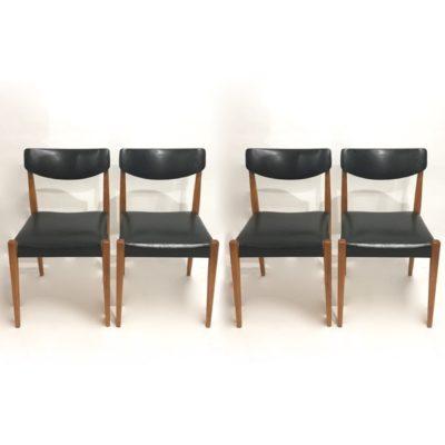 Série de 4 chaises skaï noir