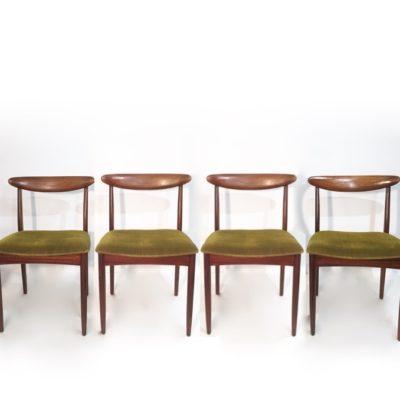 Série de 4 chaises scandinaves velours vert