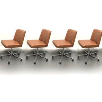 Chaises en cuir Borsani
