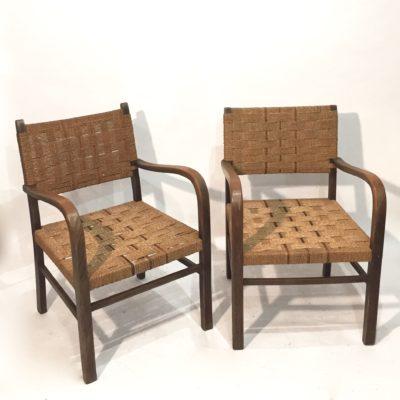 Paire de fauteuils anciens en corde