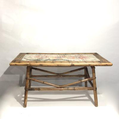 Table basse rotin et céramique