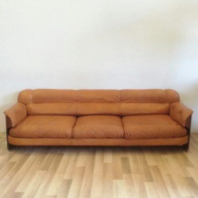 Canapé scandinave en cuir et palissandre