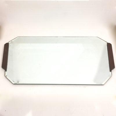 Miroir biseauté bordé de teck