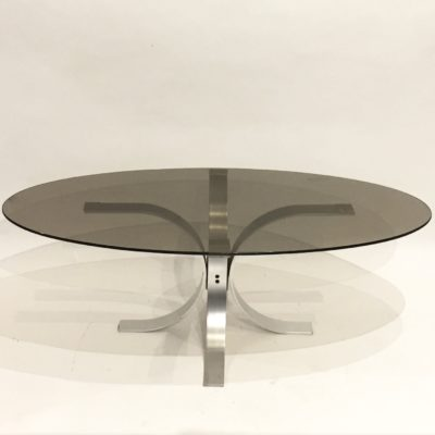 Table basse ovale en verre fumé